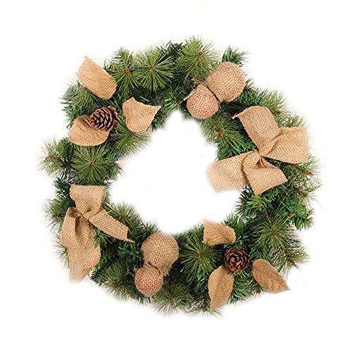Linen PVC Pine Cone Christmas Wreath Home Window Hotel Shopping Mall Decoration Door Pendant Wreath Holiday Supplies by Topaty