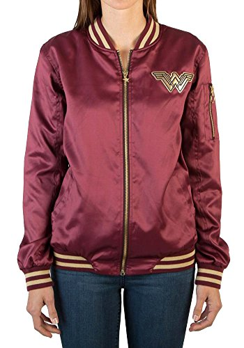 Bioworld Wonder Woman Women's Logo Bomber Jacket (Medium) Burgundy