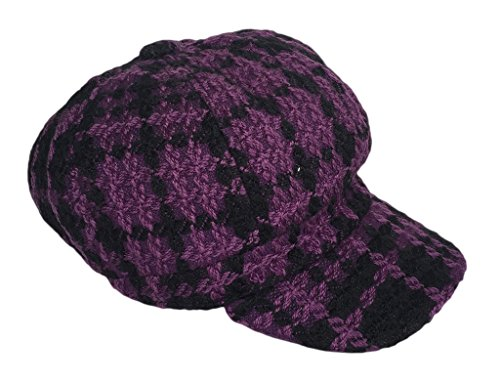 Smile YKK Women Winter Retro Thick Newsboy Beret Hat Purple