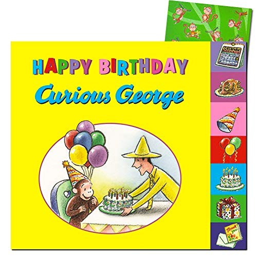 Happy Birthday, Curious George -- Board Book for Baby Toddler (Includes Bonus Monkey Stickers) (Curious George Bath Toys)