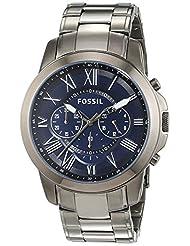 Fossil Men's Grant FS4831 Silver Stainless-Steel Quartz Watch