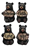 Cheap Ebros Set of 4 Inspirational Bears Statues Whimsical Cute Black Bear Holding Love Believe Faith and Hope Sign Plaque Small Figurines Western Decor Rustic Nature Lovers