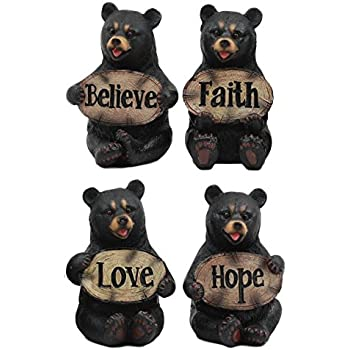 Ebros Set of Four Inspirational Bears Statues Whimsical Cute Black Bear Holding Love Believe Faith and Hope Sign Plaque Small Figurines Western Decor Rustic Nature Lovers Gift (1)