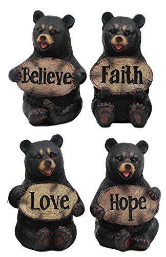 (Ebros Set of 4 Inspirational Bears Statues Whimsical Cute Black Bear Holding Love Believe Faith and Hope Sign Plaque Small Figurines Western Decor Rustic Nature Lovers)