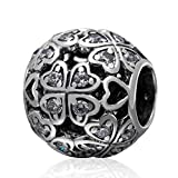 Choruslove Hollow out Sparkling 4 Leaf Clover Charm 925 Sterling Silver Bead