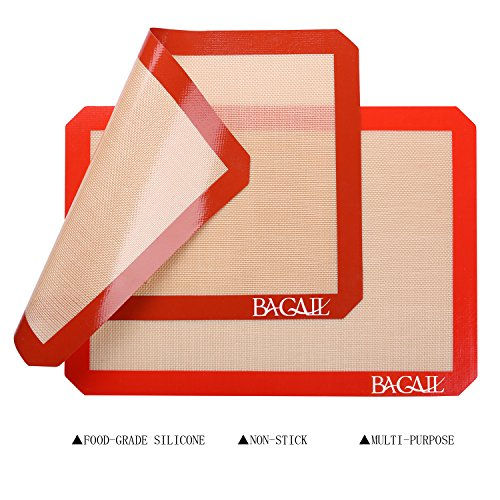 4 Set Silicone Baking Mat – 3 Thick Half Sheet Liners(11 5/8'' x 16 1/2'') and 1 Quarter Sheet Liners (8 1/2'' x 11 1/2'') - Professional Grade Non Stick Silicon Liner for Bake Pans & Rolling by BAGAIL (Image #2)