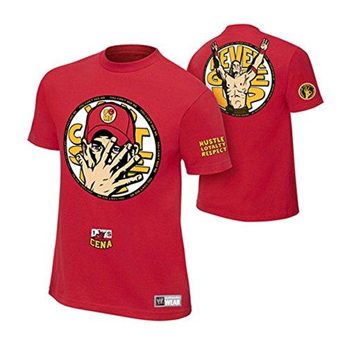 WWE Superstar Cotton Short Sleeved T-shirt , Cap , Sweatbands strong Wristbands 5/2 Piece Set Wrist RAW for Kids ,MEN (XS, RED1)