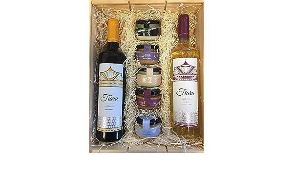 Cesta navideña con patés de marisco para untar y cremas de queso con dos botellas de vino Tiara: Amazon.es: Alimentación y bebidas