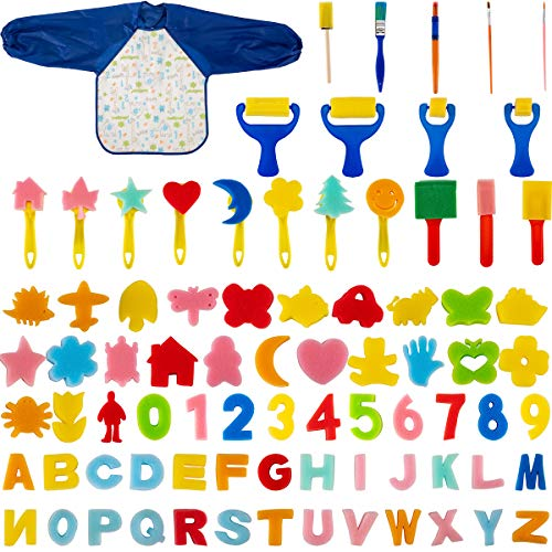 (Biubee 81 Pcs Kids Early Learning Sponge Painting Brushes Kit- Assorted Sponge Drawing Shapes Paint Brushes with Children Waterproof Art Painting Smock Apron for Toddlers)