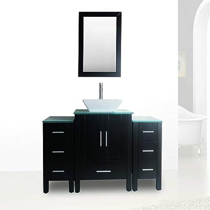 48 Black Bathroom Vanity And Sink Combo Single Top Vessel Sink W Mirror Faucet And Drain