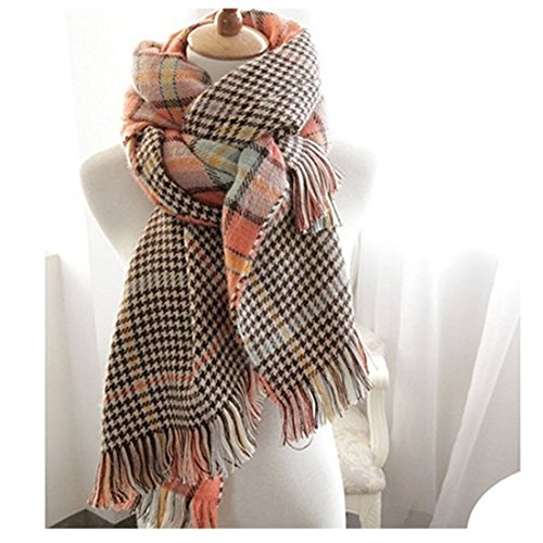 Women's Cozy Tartan Scarf Wrap Shawl Neck Stole Warm Plaid Checked Pashmina (Orang) by Neal LINK (Image #4)
