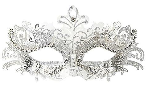 Coxeer Pretty Elegant Lady Masquerade Halloween Mardi Gras Party Mask (White ...