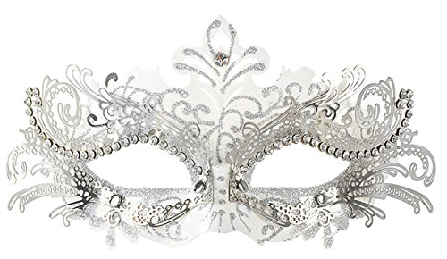 Coxeer Pretty Elegant Lady Masquerade Halloween Mardi Gras Party Mask (White ... (Plastic Masquerade Mask)
