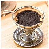 Pour Over Stainless Steel Coffee Cone Shaped Basket Filter Dripper and Cradle Stand used with Popular V60 Filters – Maximum Flavor Extraction – Decreased Pour Time - Exclusive Design by Bolio