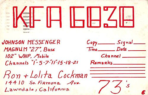 Lawndale California KFA 6838 QSL Card Ron Lolita Cockman vintage pc Z39785