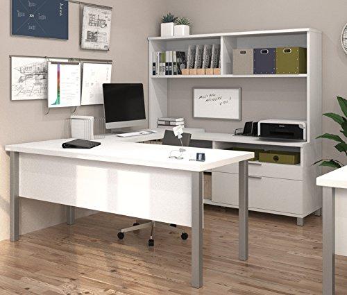BESTAR Pro-Linea U-Desk with Hutch, White (Furniture Bestar Office)