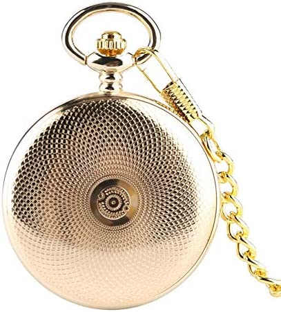 YXZQ懐中時計、スチームパンクゴールドカラーメカニカル30cmチェーンハンドウィンドメンズウォッチローマ数字スケルトンダイヤル男性時計ギフト