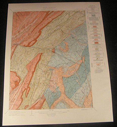 Fairfield Guilford Virginia Rock Pennsylvania 1929 vintage color Geology map
