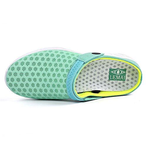 Qansi Kvinna Sneakers Mush Ultralätt Athletic Tennis Kör Andas Vatten Skor Träskor Sandaler Ljusblå / Grön