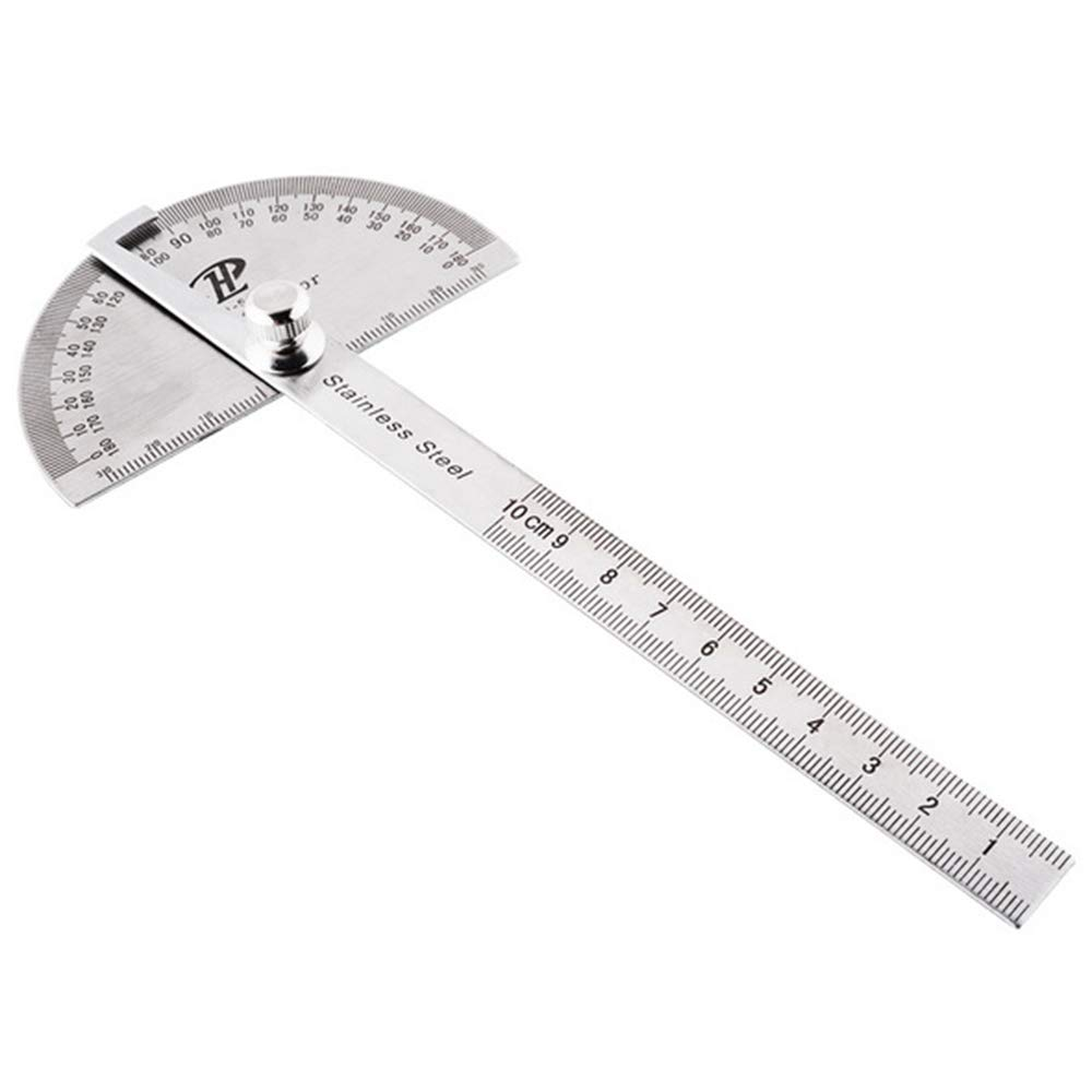 Fliyeong Durable Stainless Steel Angle Ruler Rotation 180 Degree Measurement Ruler Protractor Office Supplies 1PCS