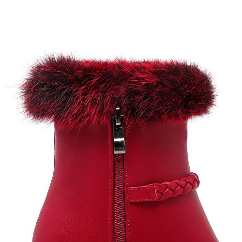 AgooLar Women's Round Closed Toe Mid Top High Heels Solid Pu Boots with Charms Red V7IAsWM