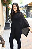 Airy Poncho, Women's Mesh Poncho, Summer Wrap, Black