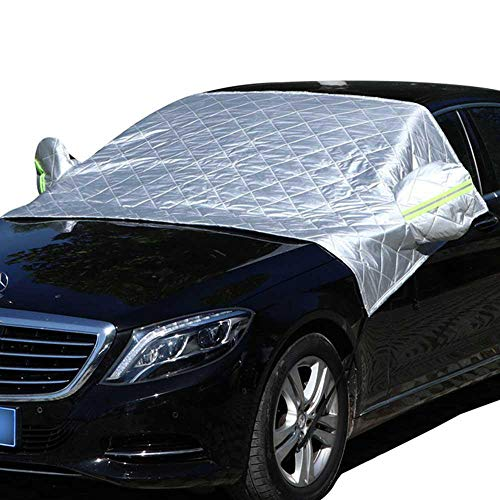 Leegoal Car Windshield Snow Cover, Car Sided Windscreen Sun Shade Protector from Snow, Sun, Ice, Frost, Wind with Reflective Warming Straps for Most Vehicles Trucks Wipers Mirrors- Silver