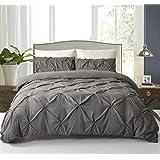 3 Piece Pleat Duvet Cover Set, Modern Tufted Bedding Set Soft Microfiber Comforter Cover with Pillowcase (King, Dark Grey)