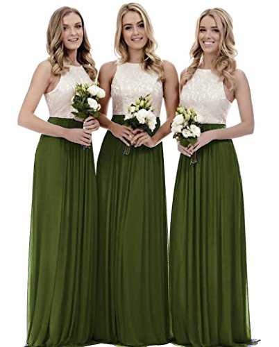 Zhongde A Line Lace Chiffon Floor Length Bridesmaid Dress Wedding Party Gown Long Olive Green Size 14