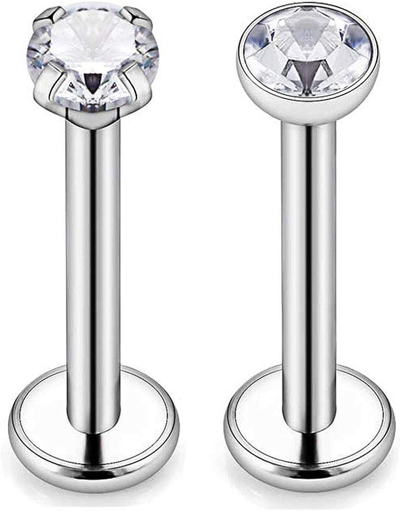 Briana Williams G23 Titanium 16G Internally Threaded Lip Rings Labret Studs Tragus Cartilage Helix Earring Monroe Medusa Piercing Jewelry 3mm CZ 6-10mm