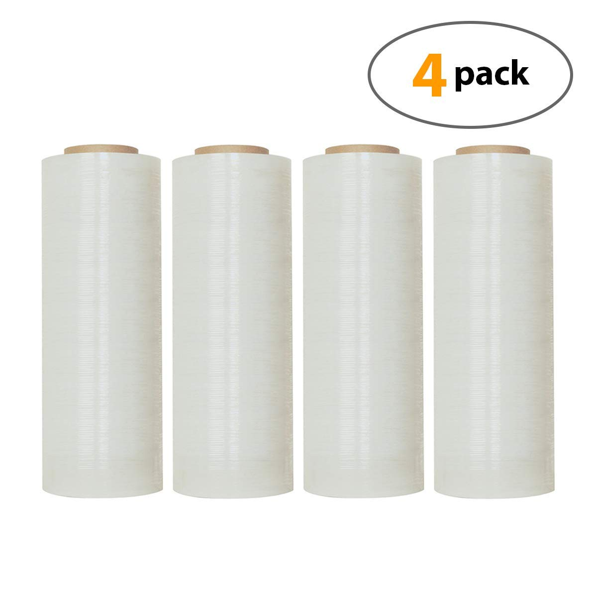 18'' X 1500 Feet Industrial Strength Pallet Shrink Wrap, 8.25 Lbs Per Roll, 80 Gauge(20 Micron) Heavy Duty Self-Adhesive Stretch Film Wrap for Packing, Moving, Boxes, Pallets (4 Rolls) by Pro-Plastics