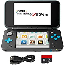 New Nintendo 2DS XL 4 Items Bundle: New Nintendo 2DS XL - Black + Turquoise Console, USB Sync Charge USB Cable, Mytrix Travel USB Wall Charger and Micro SD Card 64GB