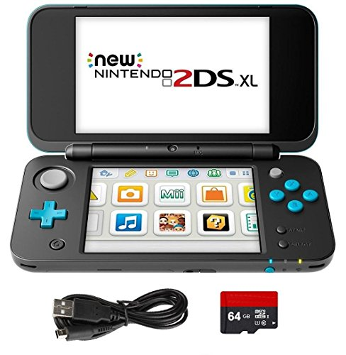 4 Items Bundle: New Nintendo 2DS XL - Black + Turquoise Console, USB Sync Charge USB Cable, Mytrix Travel USB Wall Charger and Micro SD Card 64GB ()