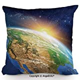 Egg Crate Foam Bed Bath and Beyond AngelDOU Pillow Cotton Linen Cushion,Celestial View of Sunrise Over The Planet Earth with Star Field Beyond Pacific Ocean View,Coffee Shop Restaurant Sofa Company gift19.6x19.6 inches