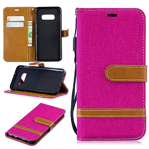 Easytop Galaxy S10 Case, Galaxy S10 Wallet Case, Stand Canvas Diary Denim/Jean Material Flip Cover Case with Wristlet/Hand Strap Card Holder Magnetic Closure for Samsung Galaxy S10 6.1