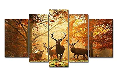 So Crazy Art® Brown 5 Panel Wall Art Painting Deer In Autumn Forest Pictures Prints On Canvas Animal The Picture Decor Oil For Home Modern Decoration Print