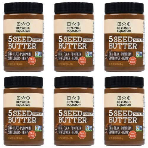 Beyond the Equator 5 Seed Butter Chocolate- Peanut Free, Tree Nut Free, Sunflower Seed, Chia Seed, Flaxseed, Pumpkin Seed, Hemp Hearts, Low Carb, Keto, Non-GMO, 6 Pack, 96 Ounces