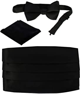 Mens Black Solid Polyester Bow Tie And Cummerband Set CB