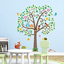 Decowall DM-1502N Large Scroll Tree and Animals Kids Wall Stickers Wall Decals Peel and Stick Removable Wall Stickers for Kids Nursery Bedroom Living Room