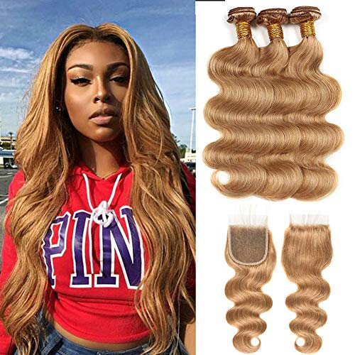 Black Rose Hair #27 Honey Blonde 7A Body Wave Peruvian Virgin Hair 3 Bundles and 4x4'' Lace Top Closure With Baby Hair Bleached Knots (20 22 22+18)