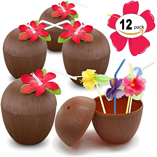 Coconut Party Cups (Plastic Coconut Cups For Fun Hawaiian Luau Children's Parties – Bulk 12 Pack – Comes With Straw And Flower – Tiki And Beach Theme Party Supplies (1 Dozen))
