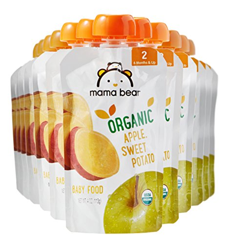 Amazon Brand - Mama Bear Organic Baby Food, Stage 2, Apple Sweet Potato, 4 Ounce Pouch (Pack of -