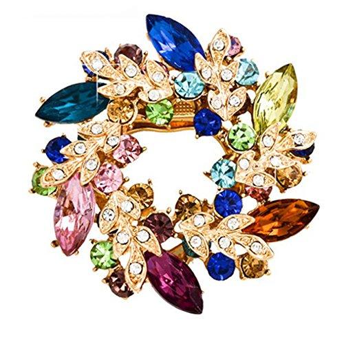 Charm Saree - dds5391 Fashion Ladies Rhinestone Flower Bouquet Brooch Pin Scarf Bag Jewelry Charm - Colorful