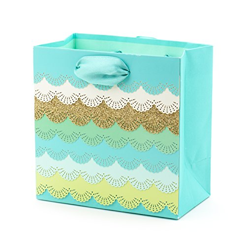 Hallmark Signature 5 Small Gift Bag (Teal and Gold Lace Scallops) for Birthdays, Mothers Day, Anniversary, Bridal Shower, Weddings or Any Occasion
