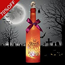 Valery Madelyn Novelty LED Wine Bottle with Ghost Laughter and Spooky Skull Cork for Bar,Party, Home ,Halloween, April Fool's Day,Gifts for Children,Battery Operated and Touch Activated (Orange)