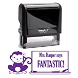 Purple Ink, Monkey, Girl with Bow Fantastic Teacher Stamp, Self Inking, Homework Personalized School Work Stamp, Large 2 Lines, Customized Unique Gift, Personal Classroom Stamper