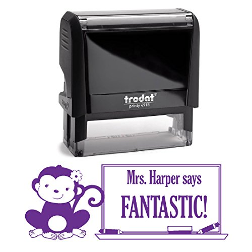 Purple Ink, Monkey, Girl with Bow Fantastic Teacher Stamp, Self Inking, Homework Personalized School Work Stamp, Large 2 Lines, Customized Unique Gift, Personal Classroom Stamper by Pixie Perfect Stamps