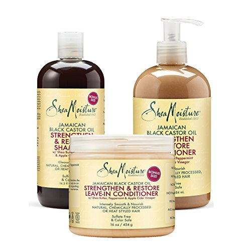 Price comparison product image Shea Moisture Jamaican Black Castor Oil Combination Pack – Strengthen, Grow & Restore System – 16.3 oz Shampoo, 13 oz. Conditioner & 16 oz. Leave-In Conditioner