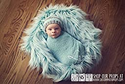 Hypoallergenic & Washable Basket Stuffer Long Faux Flokati Wool or Faux Fur Newborn Photography Props, Newborn Photo Props, Fabric, Baby Blanket, Teal Twist, Props