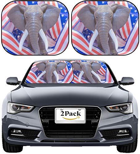 MSD Car Sun Shade Windshield Sunshade Universal Fit 2 Pack, Block Sun Glare, UV and Heat, Protect Car Interior, Image ID: 6592104 Republican Mascot